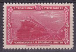 Advertisementstamp Train  Pennsylvania Rail Road, Eatons Fine Letter Papers - Treni