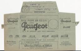 TELEGRAMME AVEC PUBLICITE PEUGEOT ENVOYE A SAINT GERMAIN DE LA COUDRE ORNE DE ARGENTEUIL ANNEE 1924 - France