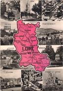 CPSM. CARTE DU DEPARTEMENT DE LA LOIRE Et MULTIVUES. - Carte Geografiche