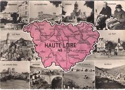 CPSM. CARTE DU DEPARTEMENT DE LA HAUTE  LOIRE Et MULTIVUES. - Carte Geografiche