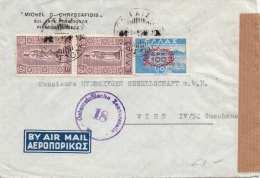 GRIECHENLAND 1948 Zensur Flugpost-Brief Mit 3 Fach Frankierung Gelaufen Nach Wien IV - Griechenland