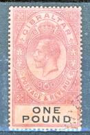 Gibilterra George V 1912-24  N. 72 £. 1 Porpora E Nero Su Rosso Fil. 2 Usato Cat € 275 Xxx - Gibilterra