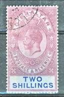 Gibilterra George V 1921 N. 82 S. 2 Lilla E Azzurro Su Azzurro  Fil 3 Usato Cat. € 50 - Gibilterra