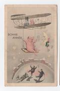 Bonne Année - Dirigeable - Cochon Et Personnages Qui Dansent Sous La Lune - Champagne - Illustrés - Nouvel An