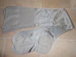 Ancienne Paire De Bas Gris Brillant Couture Mollet - Tights & Stockings