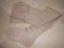 Ancienne Paire De Bas  Beige Mat Couture Mollet - Tights & Stockings