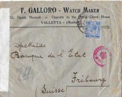 VALLETTA / MALTA - FRIBOURG / SWITZERLAND → Censor-Letter, Zensurbrief Anno 01.04.1915 - Malte