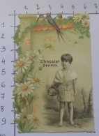"""CHROMO Chocolat Devinck-""""Jeune Fille-Thé-Fleurs Gaufrées-Colombes""""Enfant-Osieaux-Fleurs Gaufrées"""" - Schokolade"""