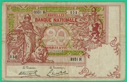 20 Francs -  Belgique - Type 1894 Vermillon - N° 2931 R - 838 -  TTB - - [ 2] 1831-... : Belgian Kingdom