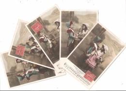 PATRIOTIQUES - Lot Complet De 5 Cartes: Tambour Et Bouquetière, Ronde Enfantine - Patriotic