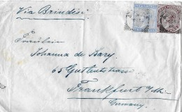 INDIAN → Victorian India Postage Stamps On Cover 1885. Two Annas Blue And One Anna Brown - Inde