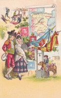 Spain And Portugal, Artist Images Map Flag Stamp Bullfighting Fashion Costume, C1900s Vintage Postcard - Maps