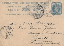 BRITISH INDIA  - BASEL / SWITZERLAND → POST CARD, One Anna 25.05.1907 - Inland Letter Cards