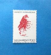 1982 SAN MARINO FRANCOBOLLO NUOVO STAMP NEW MNH** AMNESTY INTERNATIONAL - Saint-Marin