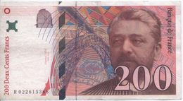 Billet De 200 Francs Eiffel - 1992-2000 Dernière Gamme
