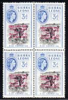 Sierra Leone MNH SG #273b In Block Of 4 Lower Left Stamp Has '/' Variety 1963 - Sierra Leone (1961-...)