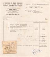 FRANCE FACTURE LABORATOIRES BOUILLET A PARIS LE 14 FEVRIER 1944 - France