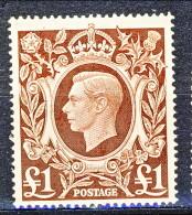 UK George VI 1948 N. 245   £ 1 Bruno MNH Cat. € 29 - 1902-1951 (Re)
