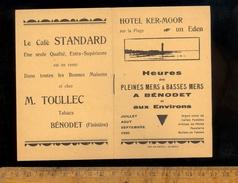 Horaires Des Marées  : Horaire Heures Des Pleines Et Basses Mers à BENODET Finistère Et Environs été 1930 - Europe