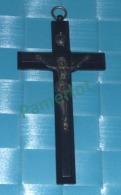 Crucifix Pectorale En Ebene Noir - 10.5 X  5.2  X 1 Cm,patine D'origine Coté Chanfreiné  -  Medaglia Medal - 2 Scans - Religión & Esoterismo