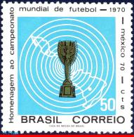 Ref. BR-1166 BRAZIL 1970 FOOTBALL-SOCCER, WORLD CUP CHAMPIONSHIP,, MEXICO, FLAG, MI# 1260, MNH 1V Sc# 1166 - World Cup
