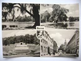 """BORNA - Breiter Teich U. Oberschule, Freilichtbühne """"Volksplatz"""", Ernst Thälmann-Strasse - 1966 - Unused - Borna"""
