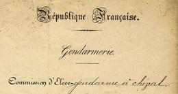 1900 MINISTERE DE LA GUERRE Republique Francaise GENDARMERIE COMMISSION D ELEVE GENDARME A CHEVAL  SIMON CAMILLE B;e; - Documents Historiques