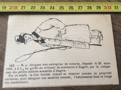 MARQUE DEPOSEE 1888 CONDUCTEUR TAXI ENTREPRISE COMPAGNIE DES PETITES VOITURES NOUVELLES D ANGERS - Vieux Papiers