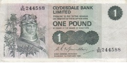 BILLETE DE ESCOCIA DE 1 POUND DEL AÑO 1980  (BANKNOTE) - [ 3] Escocia