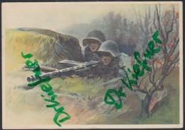 Schweizer Militär: L.M.G. In Stellung, Zeichnung: J.E.Hugentobler, Stempel: Kreuzlingen 19.III.1941 - 1939-45