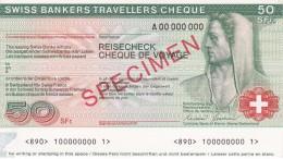 SPECIMEN BILLETE DE SUIZA DE 50 FRANCS SWISS BANKERS TRAVELLERS CHEQUE  SIN CIRCULAR-UNCIRCULATED (BANKNOTE) - Suiza