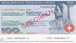 SPECIMEN BILLETE DE SUIZA DE 100 FRANCS SWISS BANKERS TRAVELLERS CHEQUE  SIN CIRCULAR-UNCIRCULATED (BANKNOTE) - Suiza