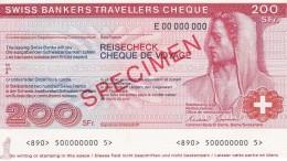 SPECIMEN BILLETE DE SUIZA DE 200 FRANCS SWISS BANKERS TRAVELLERS CHEQUE  SIN CIRCULAR-UNCIRCULATED (BANKNOTE) - Suiza
