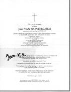 Devotie Doodsbrief Rouwbrief - Jules Van Wonterghem - Nevele 1918 - Deinze 1984 - Overlijden