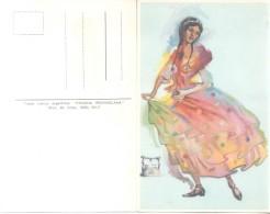 PAISANA PROVINCIANA AÑO 1800 PROVINCIA DE BUENOS AIRES - TRAJES TIPICOS ARGENTINOS CPA CIRCA 1940 RARE DOS DIVISE - Kostums