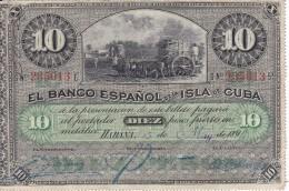 BILLETE DEL BANCO ESPAÑOL EN CUBA DE 10 PESOS DEL AÑO 1896 SIN SELLO PLATA Y LETRAS AZULES (BANKNOTE) RARO - Cuba