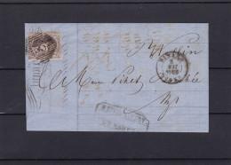 N° 10 A Margé : Lettre  (lac ) De DINANT Vers La DISTRIBUTION De WELLIN 3 Mai 1859