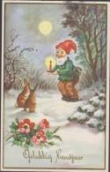 Konijn Rabbit Gelukkig Nieuwjaar Kabouter Dwerg Gnome Gnom Lutin Zwerg Kobold Erdmännchen Duende Gnomo - Fairy Tales, Popular Stories & Legends