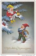 Kabouter Dwerg Gnome Gnom Lutin Zwerg Kobold Erdmännchen Duende Gnomo Gelukkig Nieuwjaar Illustrateur Illustrator CPA - Fairy Tales, Popular Stories & Legends