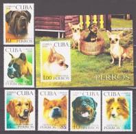 Cuba 2008 Kuba Mi 5122-5127 + Block 247(5128) Breeds Of Dogs / Hunderassen **/MNH - Chiens