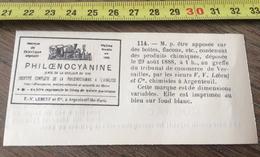 MARQUE DEPOSEE 1888 PHILOENOCYANINE TRIBUNAL DE COMMERCE A VERSAILLES F.V. LEBEUF ET CIE CHIMISTES A ARGENTEUIL - Old Paper