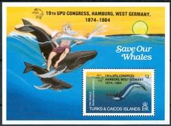 1984 Turks E Caicos Balene Whales Baleines Cetacei Cetaceans Cètacès Pesci Fishes Fische Poissons Block MNH** Sie107 - Turks E Caicos