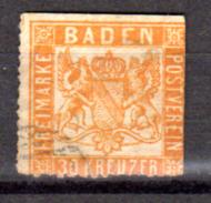 30 Kr Orange   Armoirie, 21 Oblitéré    Tel Que  Cote 45 E - Baden