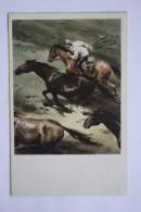 "Horse In Art - Old  Postcard - REBROV ""Wild Horses"" 1973 - Civil War - Chevaux"