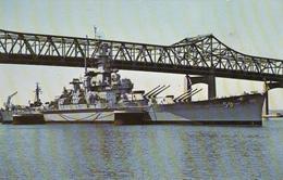 In Fall River Mass. - USS Massachusetts BB-59 Battleship War Ship Navy - Boat Bateau Guerre - 2 Scans - Warships