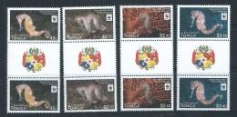 Tonga 2012 WWF Seahorses Set 4 As Gutter Pairs With Coat Of Arms Label MNH - Tonga (1970-...)