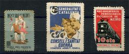 España, Guerra Civil, Lote De Viñetas Politicas Republicanas, GG2285, Domenech 1246 Y GG2557, NSG/**/NSG - Viñetas De La Guerra Civil