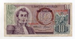 Colombia - 1970 - Banconota Da 10 Pesos Oro - Usata - (FDC1710) - Colombia