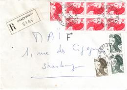 Env Reco Affr Y&T 2220 X 7 + 2178 X 2 + 2185 Obl DIEBOLSHEIM Du 11.7.1983 Adressée à Strasbourg - Elzas-Lotharingen