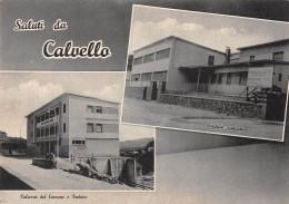 """06431 """"CALVELLO (PZ) - PALAZZO DEL COMUNE E PRETURA - EDIFICIO SCOLASTICO""""  CART. ILL. ORIG. NON SPED. - Altre Città"""